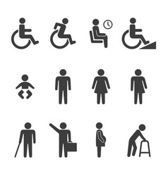 Accessibility and accessible icon set vector