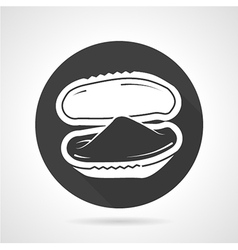 Black round icon for mussel vector