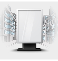 Blank white vertical billboard on city scape vector