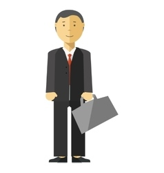 Businessman manager with suitcase in office vector