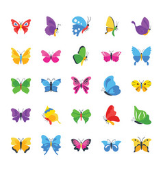 Butterfly rare species flat icons vector