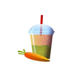 Carrot smoothies in a cup superfoods and health vector