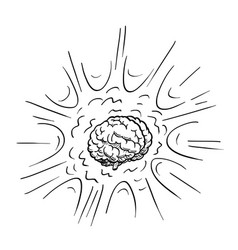 Cartoon drawing of excited human brain explosion vector