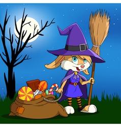 cartoon halloween bunny vector image