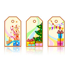 cartoon xmas labels vector illustration vector image