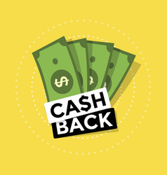Cash back icon on yellow background vector