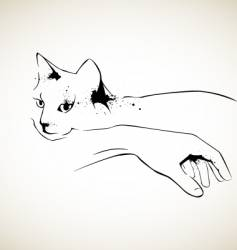 Cat and hand vector