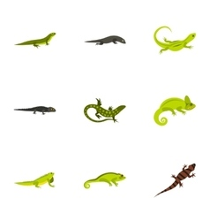 Chameleon icons set flat style vector