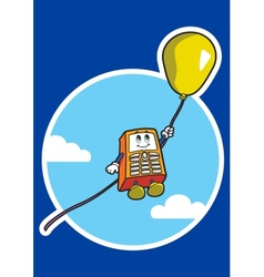 Character soars in a sky on air balloon vector