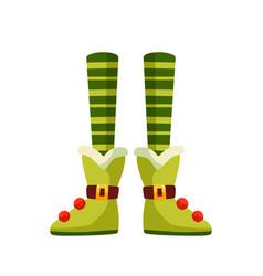 christmas elf legs flat xmas vector image
