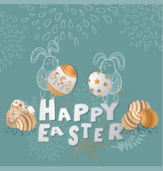 colorful happy easter greeting card eps10 vector image