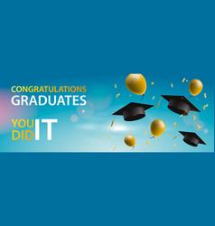 Congratulations graduates 2019 caps balloons and vector