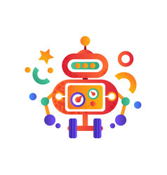 cute funny robot on wheels android character vector image