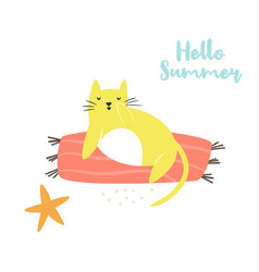 cute hand drawn cat on a beach character design vector image