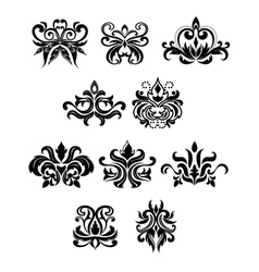 Damask black flowers set with buds vector image