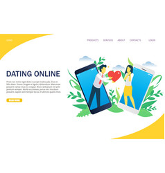 Dating online website landing page design vector