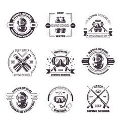 Diving school promo monochrome emblems with vector