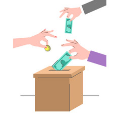 donation crowdfunding concept with a cardboard box vector image