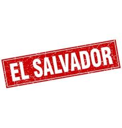 El Salvador red square grunge vintage isolated vector