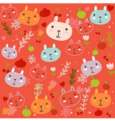 Fancy Bunny red pattern vector
