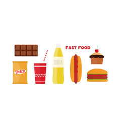 Fast food flat set vector