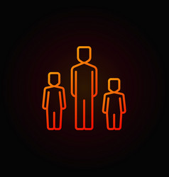 Father with two children colorful icon vector