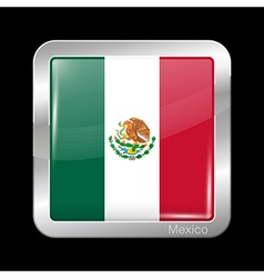 Flag of Mexico Metal Icon Square Shape vector image
