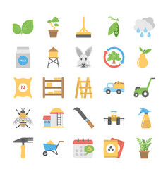 flat icons set of farming vector image