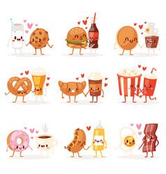 Food kawaii cartoon expression characters vector
