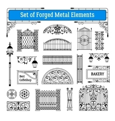 Forged Metal Elements Set vector image