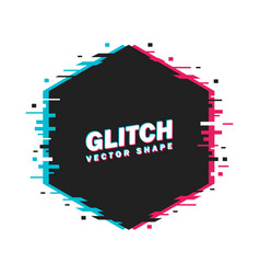 geometric hexagon banner with glitch effect and vector image
