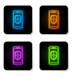 glowing neon smartphone mobile phone with vector image