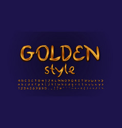 Golden style alphabet handwritten typeface vector