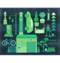 Green Asian street set vector