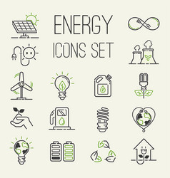 green eco energy icons set energy icons vector image