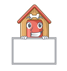 grinning with board cartoon funny dog house with vector image