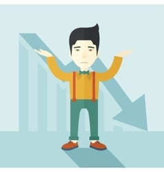 Guy raising his arms with arrow down graph vector image
