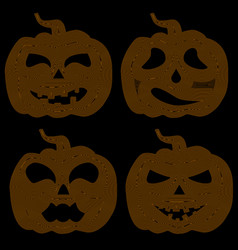 Halloween pumpkin with various expressions vector