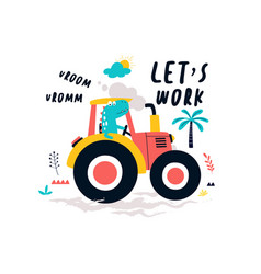 Hand drawing tractor and worker dinosaur vector
