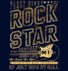 hand drawn rock festival poster rock and roll sign vector image