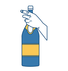 hand holding a champagne bottle vector image