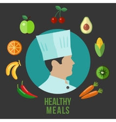Healthy food cooking flat icons vector