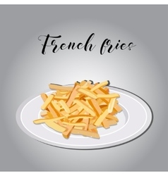 heap of French fries on a white plate vector image