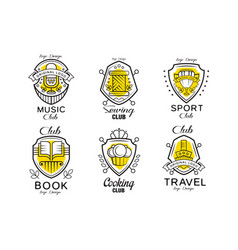 hobclub logo design set badges with heraldic vector image