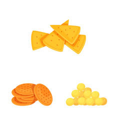 Isolated object food and crunchy symbol set of vector