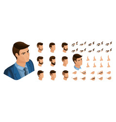 Isometric create emotions for business man vector