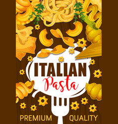 Italian pasta poster with pastry food or garnish vector