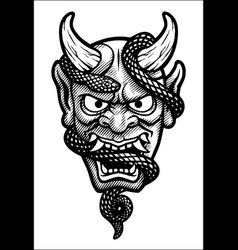 japanese mask a demon with a snake vector image