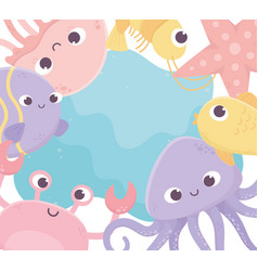 jellyfish crab shrimp fish starfish octopus life vector image