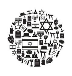 Judaism religion symbols set icons in circle vector